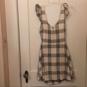 Gingham print low cut back with tie dress